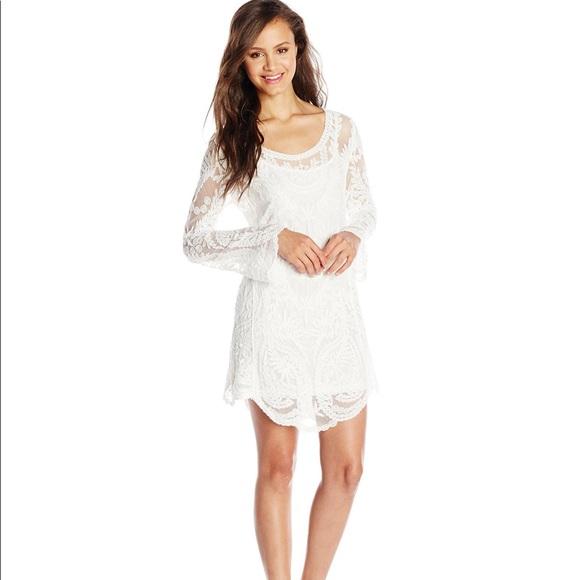 df8b04a902e XOXO Dresses | Nwt Long Sleeve White Lace Tunic Dress | Poshmark